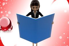 3d character read file illustration Stock Photography