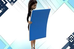 3d character reading file illstration Stock Image