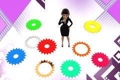 3d character  gear problem illustration Stock Photo