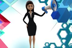 3d character conveying message through  speaker illustration Stock Photo