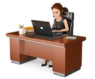 3D Business woman working at office with a laptop. 3d business people illustration. 3D Businesswoman working at office with a laptop. Isolated white background Stock Images