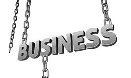 3D business word hanging on the silver chains. 3D business text hanging on the chrome chains Stock Image