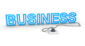 Business word is plugged in. 3d business word is plugged in Stock Photography