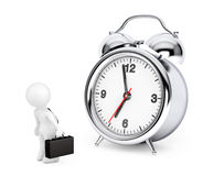 3d Businessman with Alarm Clock. 3d Rendering Royalty Free Stock Photo