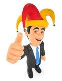 3D Businessman with a april fools hat Stock Images