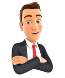 3d businessman with arms crossed Stock Photos