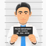 3D Businessman arrested. White collar criminal police photo Royalty Free Stock Image
