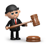 3d Businessman with auctioneer's gavel Royalty Free Stock Photos