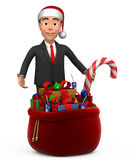 3D businessman with a bag of gifts. Businessman with a bag of gifts Royalty Free Stock Photos