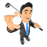 3D Businessman with a ball and a golf club. 3d business people illustration. Businessman with a ball and a golf club. White background Royalty Free Stock Photos