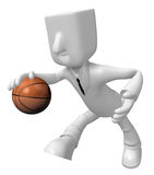 3d Businessman basketball player with ball. 3D Square Man Series Royalty Free Stock Photography