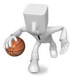 3d Businessman basketball player with ball. 3D Square Man Series Stock Photos