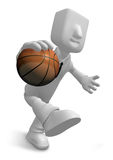 3d Businessman basketball player with ball. 3D Square Man Series Royalty Free Stock Photo