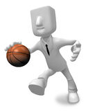 3d Businessman basketball player with ball. 3D Square Man Series Stock Image