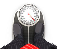 3d businessman on bathroom scales. Illustration with isolated white background Royalty Free Stock Photos