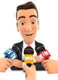 3d businessman being interviewed media Royalty Free Stock Image