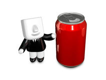 3d Businessman beverage can. 3D Square Man Series. Royalty Free Stock Images
