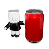 3d Businessman beverage can. 3D Square Man Series. Royalty Free Stock Photos