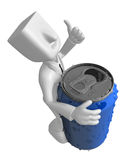 3d Businessman beverage can. 3D Square Man Series. Royalty Free Stock Photo