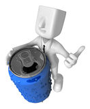 3d Businessman beverage can. 3D Square Man Series. Royalty Free Stock Image