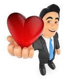 3D Businessman with a big red heart Royalty Free Stock Photography