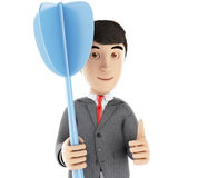3d businessman with a blue dart. Royalty Free Stock Photo