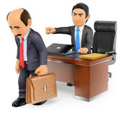 3D Businessman boss firing an employee Stock Photography
