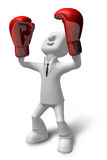 3D businessman with boxing gloves. 3D Square Man Series. Stock Photography