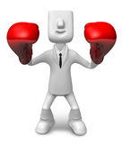 3D businessman with boxing gloves. 3D Square Man Series. Stock Image