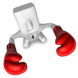 3D businessman with boxing gloves. 3D Square Man Series. Royalty Free Stock Images