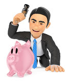 3D Businessman breaking a piggy bank. Spend savings Stock Photography