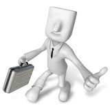 3d Businessman with briefcase up to a gesture. 3D Square Man Ser Royalty Free Stock Images