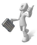 3d Businessman with briefcase up to a gesture. 3D Square Man Ser Stock Photos