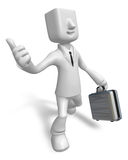 3d Businessman with briefcase up to a gesture. 3D Square Man Ser Royalty Free Stock Photo