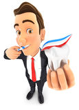 3d businessman brushing his teeth and holding tooth Royalty Free Stock Images