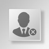 3D Businessman Cancel icon Business Concept. 3D Symbol Gray Square Businessman Cancel icon Business Concept Royalty Free Stock Photos
