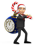 3D businessman carries clock on candy. Businessman carries clock on candy Royalty Free Stock Image