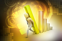 3d businessman carrying  the big column of the diagram. In color background Stock Photos