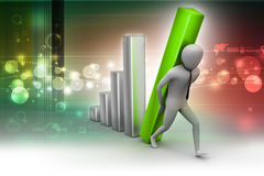 3d businessman carrying  the big column of the diagram Stock Photography