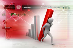 3d businessman carrying  the big column of the diagram Royalty Free Stock Images