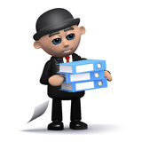 3d Businessman carrying folders Stock Photo