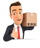 3d businessman carrying package with thumb up. Illustration with  white background Royalty Free Stock Photography