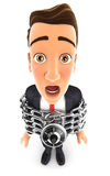 3d businessman chained Stock Photo