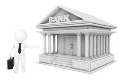 3d Businessman Characters Inviting in Bank Building. 3d Renderin. 3d Businessman Characters Inviting in Bank Building on a white background. 3d Rendering Stock Photos