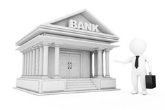 3d Businessman Characters Inviting in Bank Building. 3d Renderin. 3d Businessman Characters Inviting in Bank Building on a white background. 3d Rendering Royalty Free Stock Images