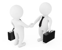 3d Businessman Characters Shaking Hands. 3d Rendering. 3d Businessman Characters Shaking Hands on a white background. 3d Rendering Royalty Free Stock Photography