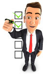3d businessman checklist. White background Royalty Free Stock Photos