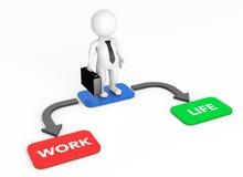 3d Businessman with Choice Arrow Points Life and Work Stock Photos