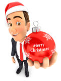 3d businessman christmas bauble. 3d businessman holding a christmas bauble,  white background Stock Photo