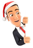 3d businessman with christmas hat peeping over wall Stock Photo
